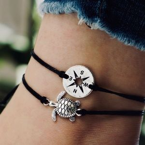 Turtle and Compass Ankle Bracelet Set